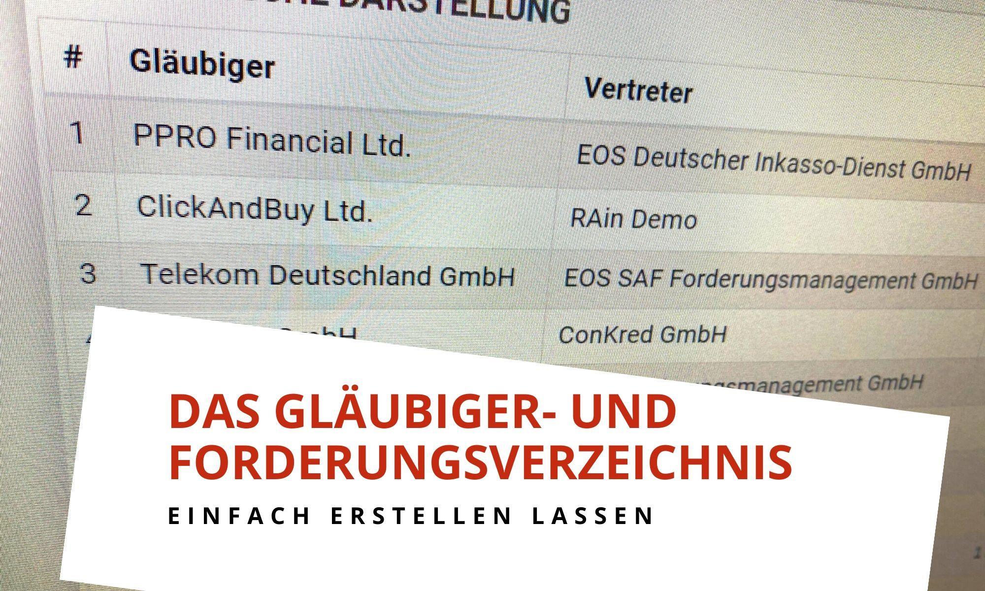 Das Gläubiger- und Forderungsverzeichnis