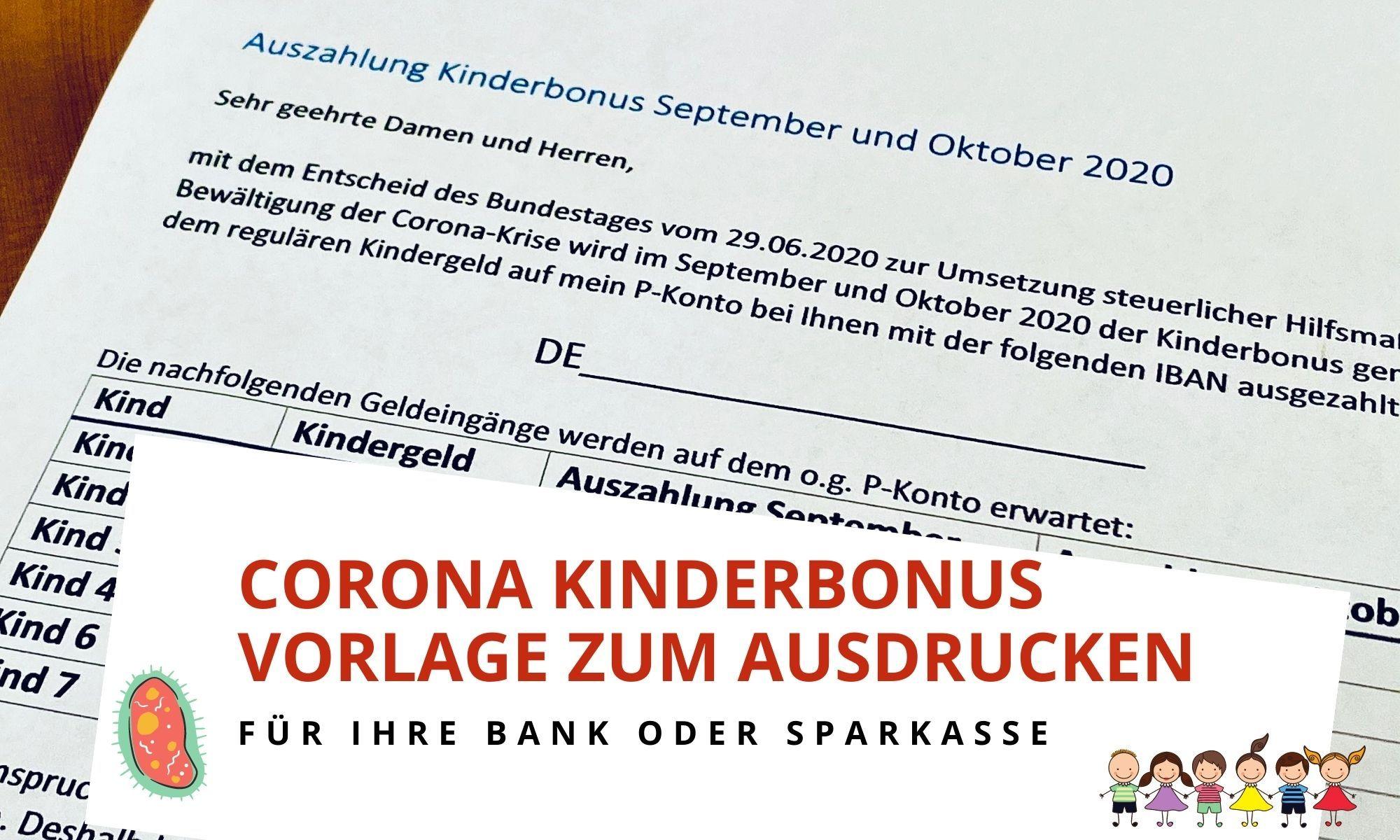 Corona Kinderbonus - Kostenlose Vorlage Freigabeantrag für Ihre Bank
