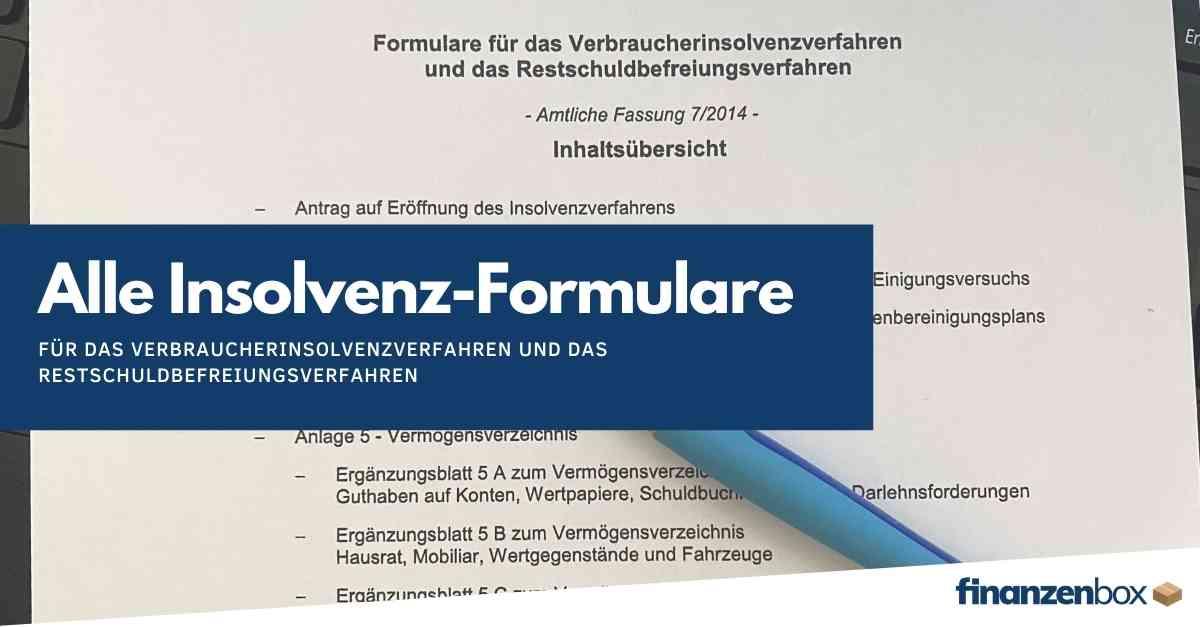 Formulare für das Verbraucherinsolvenzverfahren und das Restschuldbefreiungsverfahren