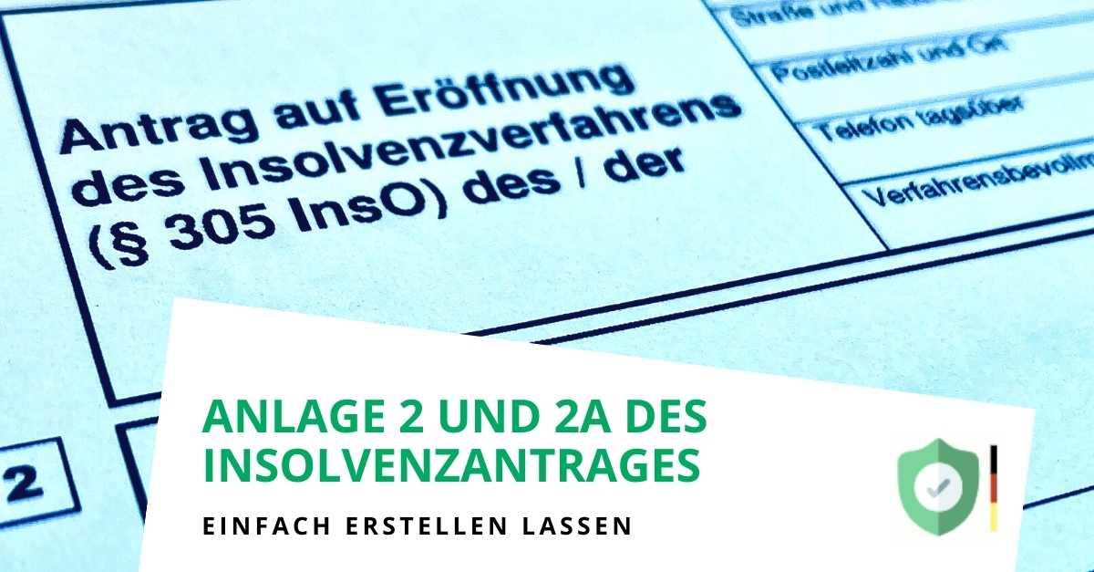 Anlage 2 und Anlage 2A für den Antrag auf Privatinsolvenz