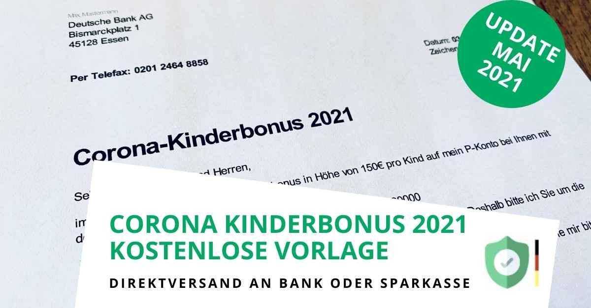 Corona Kinderbonus - Kostenlose Vorlage Freigabeantrag für Ihre Bank (Update: 03.05.2021)